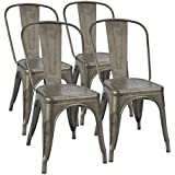 Furmax Metal Dining Chair Tolix Style Indoor Outdoor Use Stackable Chic Bistro Cafe Side Chairs Gun MetalSet Of 4