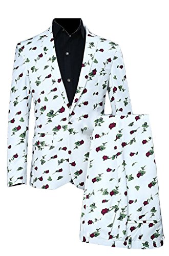 ouxiuli Men Fashion Slim Fit Print Flowers Suit Blazers + Suit Pants Set 1 L (Corduroy Flower Coat)