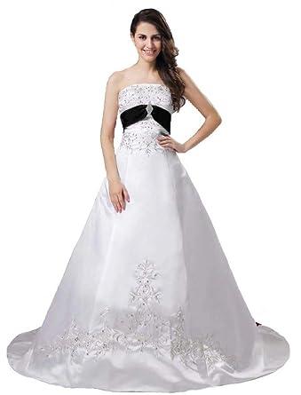 86301c3270d Snowskite Women s Strapless A-line Satin Embroidery Beaded Wedding Dress  Ivory Black 0