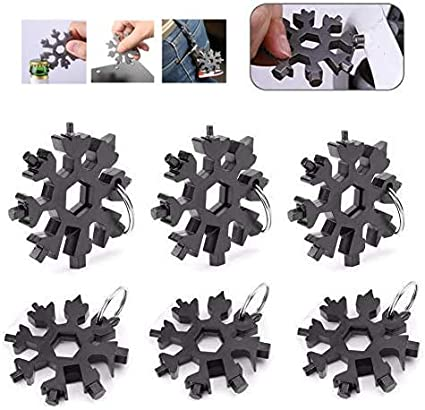 Portable Keychain Screwdriver Stainless Tool Snowflake Shaped 18 In 1 Multi Tool