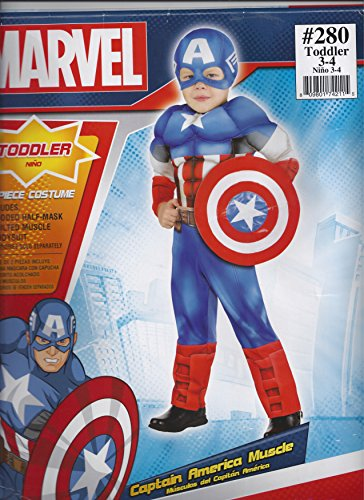 Suit Yourself Classic Captain America Muscle Halloween Costume for Toddler Boys, 3-4T, Includes Headpiece -