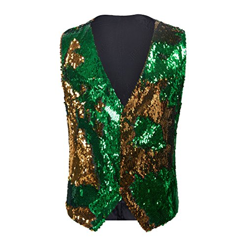 PYJTRL Mens Fashion Double-Sided Two Colors Sequins Waistcoat Vest (Gold + Green, US 40R) ()