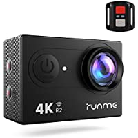 Runme R2 4K Sports Action Camera, 12MP Wi-Fi Camera 170-Degree Wide-Angle Lens, 98ft Underwater Action Cam with 2.4G Remote Control and Accessories