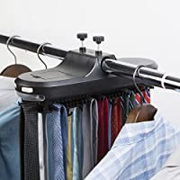 Richards Homewares Operated//Black Motorized Tie Rack with LED Lights Rotating