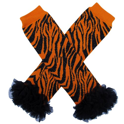 Chiffon Ruffle Halloween Costume Spooky Styles Leg Warmers - One Size - Baby, Toddler, Girl (Chiffon Tiger Stripe)