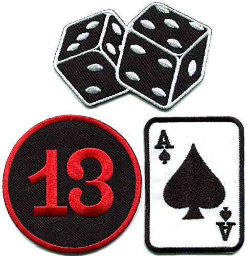 (Lot of 3 poker ace of spades dice cards craps gambling Lady Luck Las Vegas lucky 13 embroidered appliques iron-on patches)