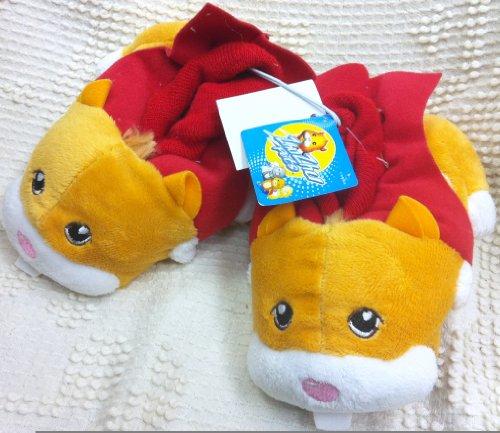 Zhu Zhu Zhuzhu Pets Orange Red Plush Soft Comfy Kids Size 5-6 Slippers Shoes, Great Halloween Costume -