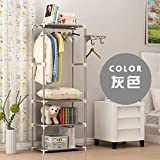 XENO-Wardrobe Closet Storage Organizer Clothes Portable Rack Armoire Cabinet Shelves(silver gray)