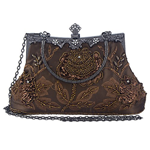 Bagood Women's Vintage Style Roses Beaded And Sequined Evening Bag Wedding Party Handbag Clutch Purse -