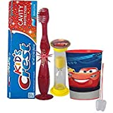 Disney Pixar Cars 3 4pc Bright Smile Oral Hygiene Set! Flashing Lights Toothbrush, Toothpaste