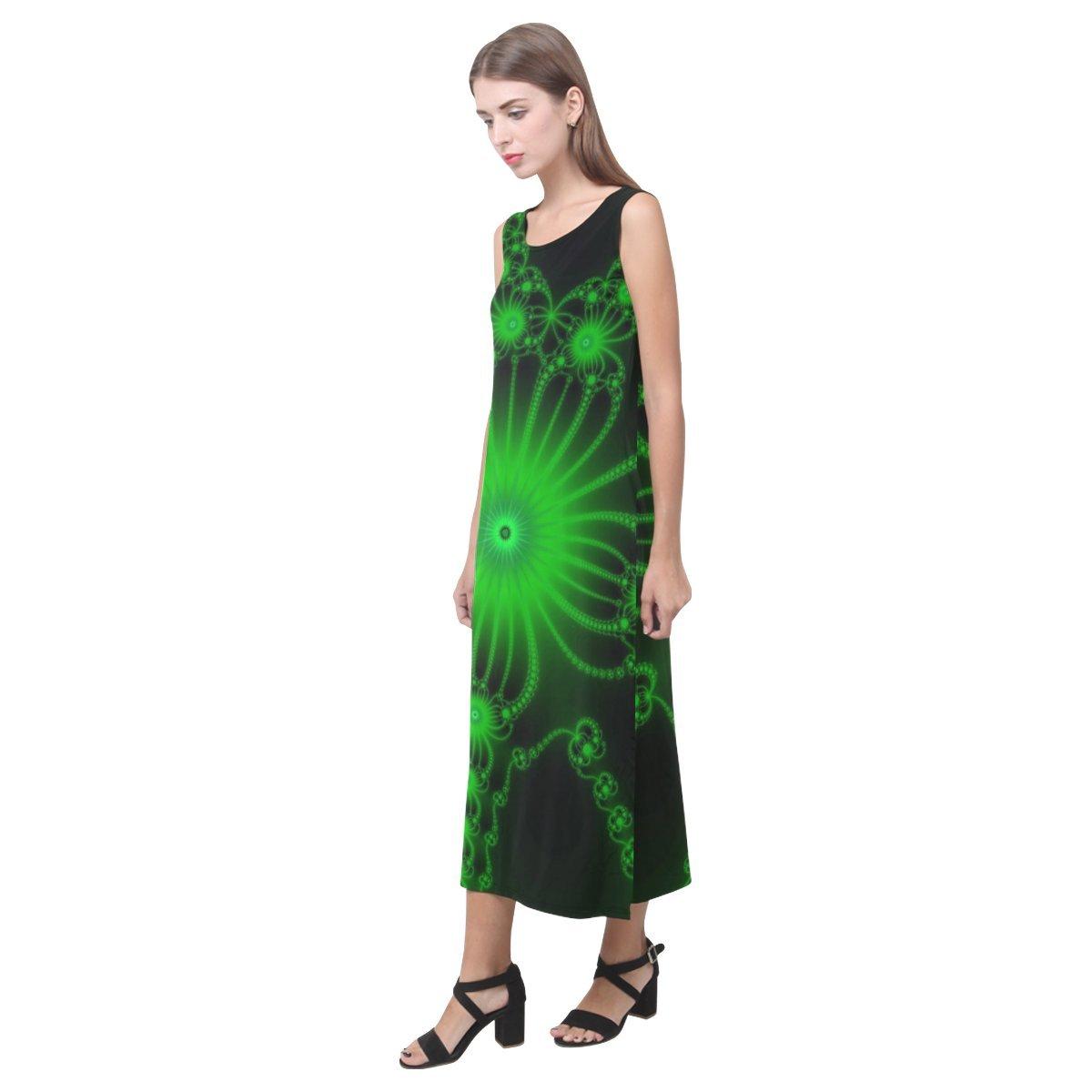 JC-Dress Sleeveless Dress Green Flower Bloom Party Beach Open Fork Long Dress