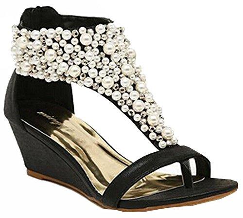 Heels reißverschluss Zwängt Perlen 2015 High Schuhe Strass Schwarz Sandelholze Frauen Perle Sommer 8x87TwqI