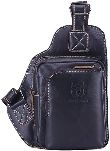 Men Real Leather Chest Bags Sling Shoulder Bag Travel Hikingl Riding backpack