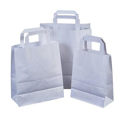 Juego de 25 bolsas de papel con asas planas (18 cm x 23 cm x ...