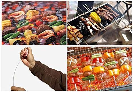 Dcolor 6 PièCes de Brochette de Barbecue, 430 Brochettes de Brochettes en MéTal Plat en Acier Inoxydable, Glissez et Servez pour Une Cuisson Facile