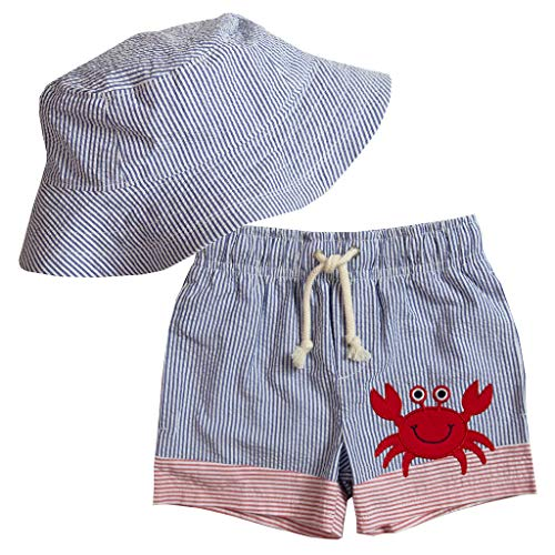 Good Lad Infant and Toddler Boys Seersucker Swimwear with Applique and Matching Seersucker Hat (3T, ()