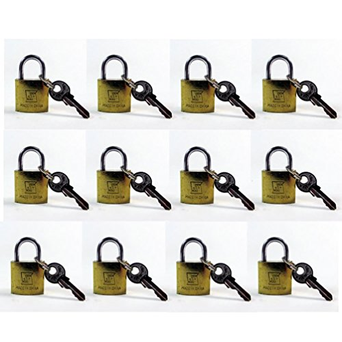 20mm Football Knob (Lot Of 12 Padlock Small Brass 20Mm Mini Tiny Lock Keyed Box Jewelry Drawer 2 Key)