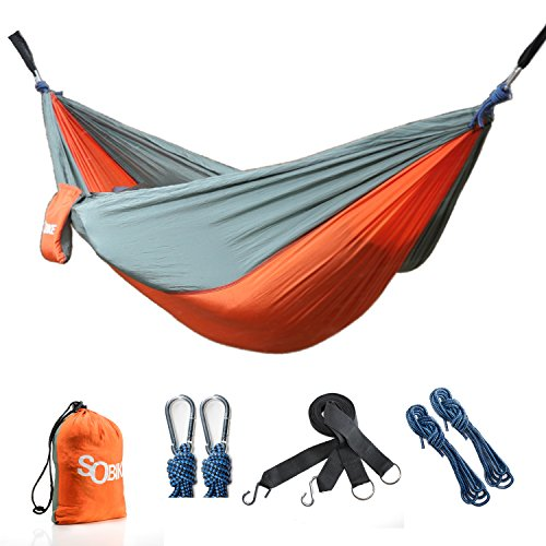 Classic Poly Quilted Hammock (Sobike Camping Hammock with Tree Straps - Portable Lightweight Durable Parachute Hammock for Outdoors Yard, Stainless Steel Carabiners)