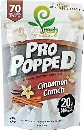 Dessert Protein Fresh Cinnamon Roll (You Fresh Naturals - Cinnamon Crunch Pro Popped - High Protein (20 grams per bag) Gluten-Free Popcorn Snack - Easy Prepare - 4 pack)