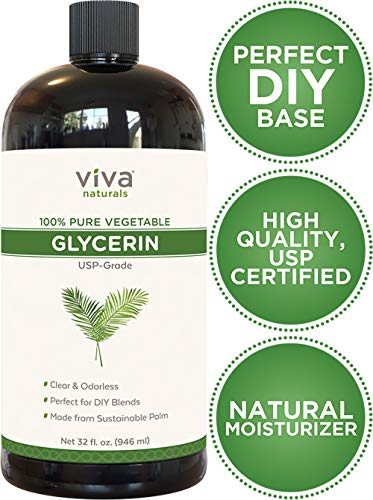 Glycerin - 100% Pure Vegetable Glycerin, USP Certified, Perfect Soap Base for DIYs, Bubble Bath, Natural Hair and Face Moisturizer for Dry Skin, and Glycerin Soap (32 fl oz) (Best Moisturizer For Dry Natural Hair)