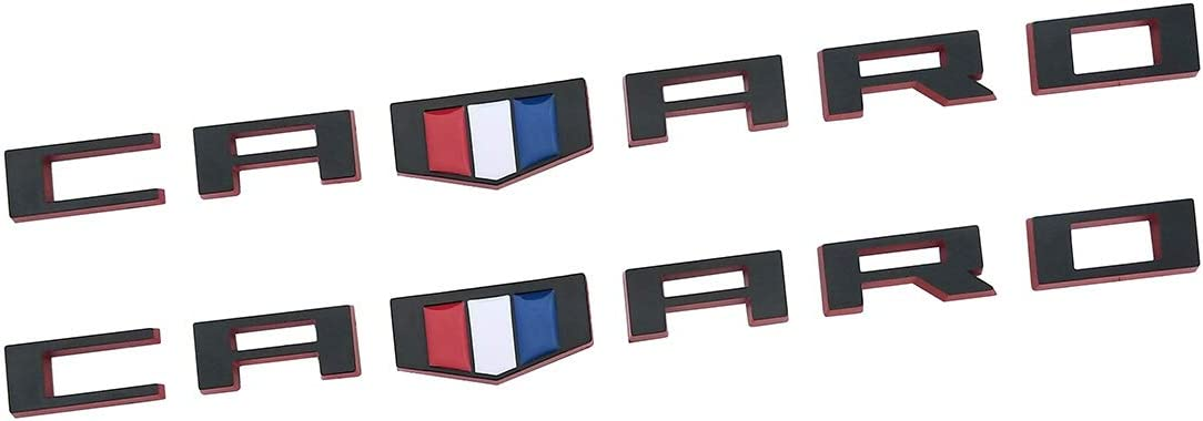 2Pc black Yuauto OEM CAMARO Letter Emblem Badges 3D Badge Replacement for Camaro RS SS ZL1 Z28 Chevy