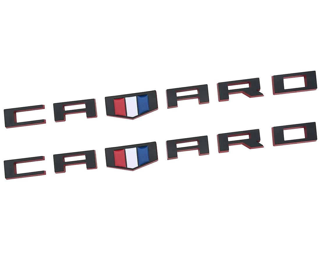 Yuauto OEM CAMARO Letter Emblem Badges 3D Badge Replacement for Camaro RS SS ZL1 Z28 Chevy 2Pc chrome