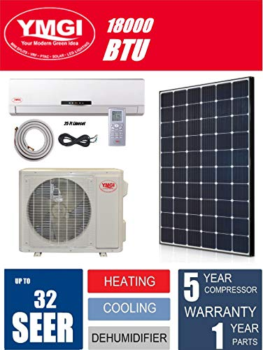 (YMGI Ductless Mini Split Air Conditioner 1.5 Ton 18000 BTU up to 32 SEER Solar Assist with Heat Pump with 25 Ft Installation Lineset)