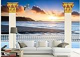 LWCX room Sea view Roman column background wall 3d wallpaper customized wallpaper for walls 430X280CM