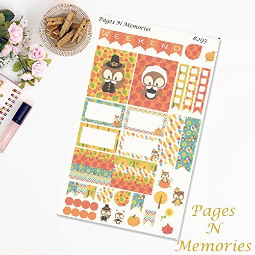 Owl Thanksgiving Mini Weekly Planner Sticker Kit for Erin Condren Life Planners. We combine shipping