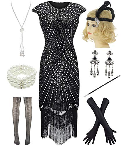 Women 1920s Vintage Flapper Fringe Beaded Gatsby Party Dress with 20s Accessories Set (L, Style 2-Black Sliver)