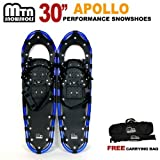 New MTN Extreme Lightweight All Terrian Man Woman Kid Teen Snowshoes up to 255 lbs /Free Bag - BLUE (30'' inch)