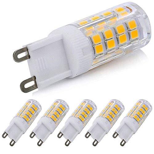 G9 LED Dimmable Light, Daylight 4 Watts Replacement for 40 Watts Halogen G9 Bulb, Warm White 3000K, 360 Degree LED G9 Corn Crystal Light for Livingroom Bedroom Lighting(Pack of 5) (5 Tavern Lamps)