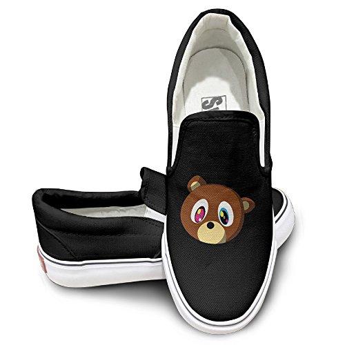 PTCY Cartoon Canye Cute Bear Oxford Unisex Flat Canvas Shoes Sneaker 36 Black (Shrek Costume Ideas)