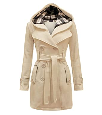 00257133a LvRao Womens Long Pea Coats with Hooded Double Breasted Coat for ...