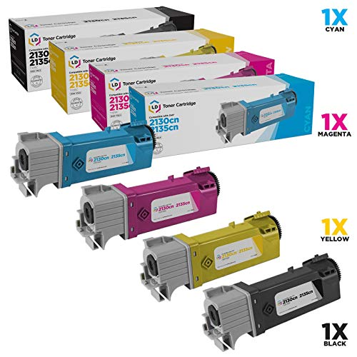 Cyan Toner 2135cn - LD Compatible Toner Cartridge Replacement for Dell Laser 2130cn & 2135cn High Yield (Black, Cyan, Magenta, Yellow, 4-Pack)