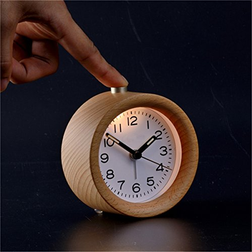 CoCocina Classical Table LED Desk Wood Wooden Alarm Clock Snooze Beech Round Silent Decor