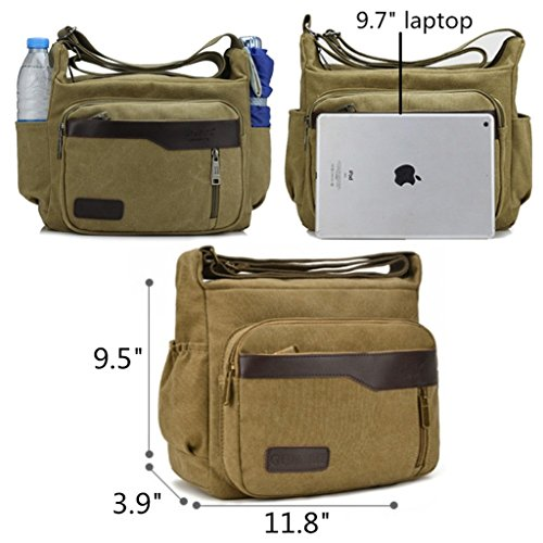 Women Canvas Style Lightweight Multiple Grey Crossbody Shoulder Bag Pockets a and for Men Retro w0qdqgPHn