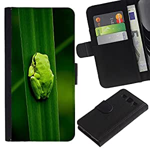 """SAMSUNG Galaxy S3 III / i9300 / i747 , la tarjeta de Crédito Slots PU Funda de cuero Monedero caso cubierta de piel ("""" Baby Frog Leaf Nature Tropical Forest"""")"""