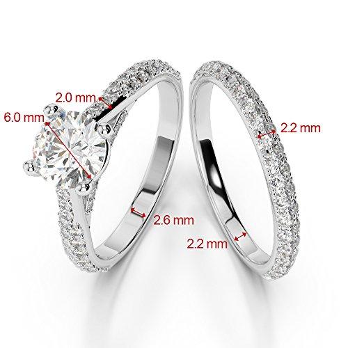 G-H/VS 1CT Coupe ronde sertie de diamants Émeraude et diamants blancs et bague de fiançailles en platine 950Agdr-2013