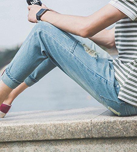 Pantaloni Fori Libero Heheja Strappati Come Jeans Denim Tempo Immagine Studente Uomo Rilassato Uwqfqpz