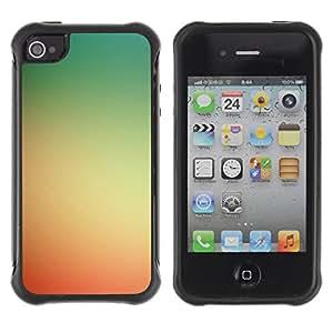 Híbridos estuche rígido plástico de protección con soporte para el Apple iPhone 4 / 4S - yellow red sunset summer sun warm