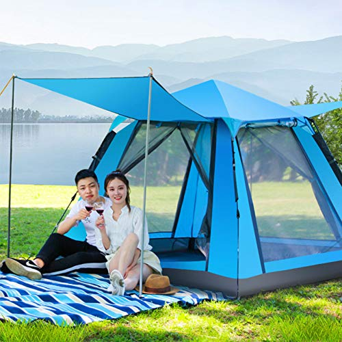 ZHJLOP tent 3-5 Person Mongolian Yurt Tent Double Layer Waterproof Folding Camping Fishing Tent Mosquito Net Family…