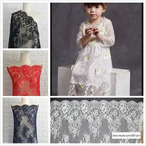 Laliva 3 M/Lot Black White Exquisite Eyelash Lace Fabric Wide 70CM/150CM to Do Wedding Dress Sexy Lingerie DIY Clothes Accessory SM055 - (Color: 70CM Black) -