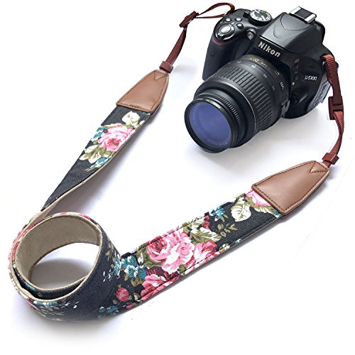 Camera Neck Shoulder Belt Strap, Alled Cowhide Vintage Print Soft Leather Coloful Camera Straps for Women /Men for DSLR / SLR / Nikon / Canon / Sony / Olympus / Samsung / Pentax ETC /Olympus Black