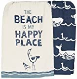 Pbk Primitives By Kathy Beach Inspired Set of 2 Kitchen Dish Towels ~ The Beach Is My Happy Place ~ Ocean Whale Print ~ Blue White
