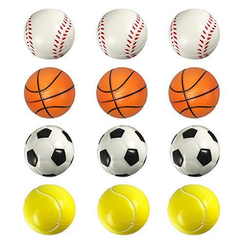 (ROOTLISA 12 Pack Foam Mini Sports Balls Stress Balls for Kids Party Favor Toy (Soccer Ball Basketball Tennis Baseball Kit))