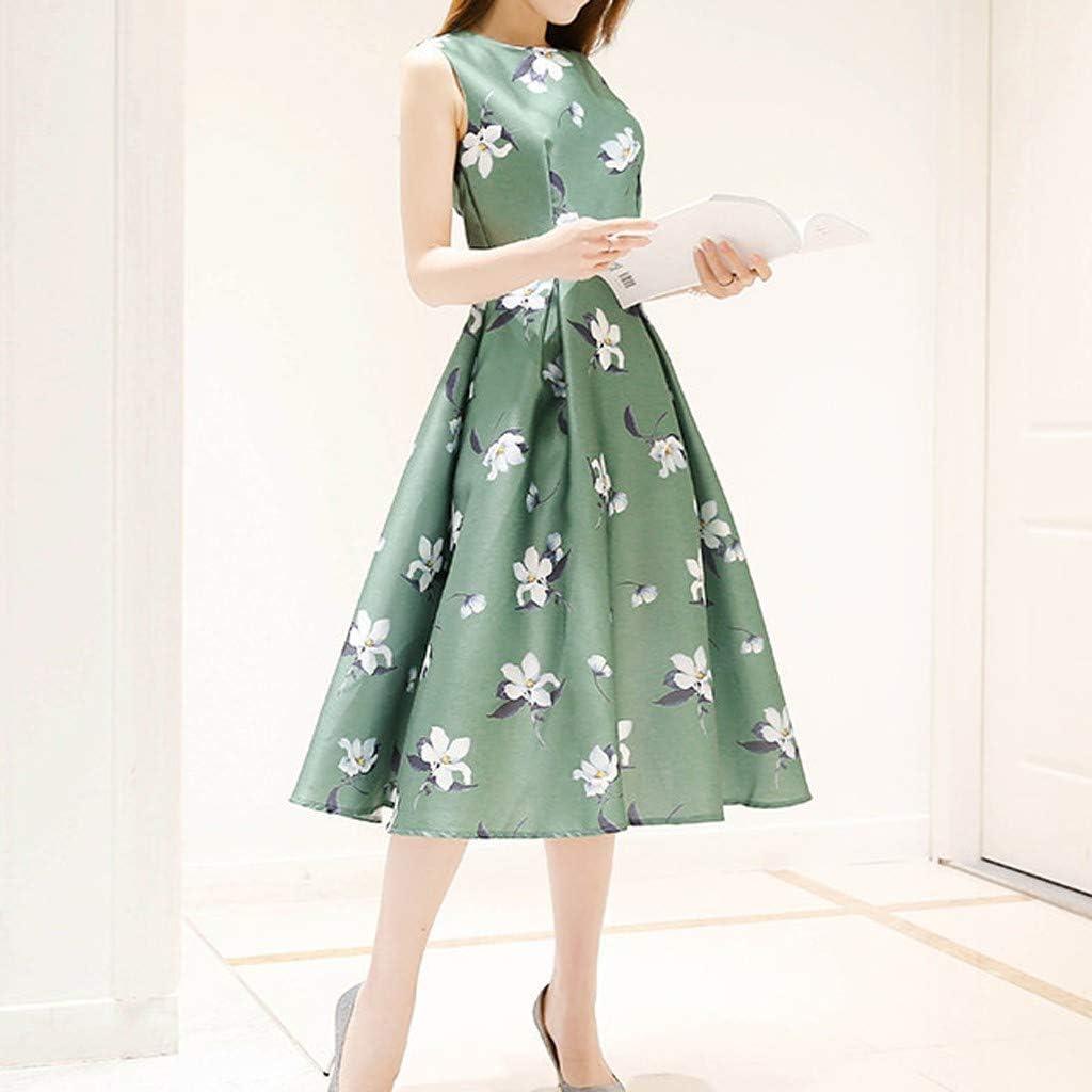 Staresen Fashion Women Summer Dresses,Ladies Sleeveless O-Neck Belt Mid-Calf Dress Elegant Printing Swing Pleated Dress Evening Party Dress Work Office Dress