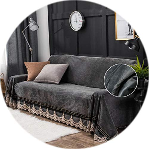 (European Style Sofa Cover for Living Room Grey Plush Slipcovers Stretch Furniture Sectional Couch Cover Luxury Fabric Lace Decor,Dark Grey 1pcs,Three)
