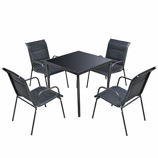 Luckyfu este 5 Piezas Conjunto Mesa y sillas para Exteriores Negro ...
