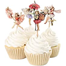 Yunko 24 Pcs Fairy Girls Flowers Cupcake Muffin Toppers Baby Shower Birthday Party Favors
